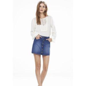 Express Jeans Full Button Jean Mini Skirt